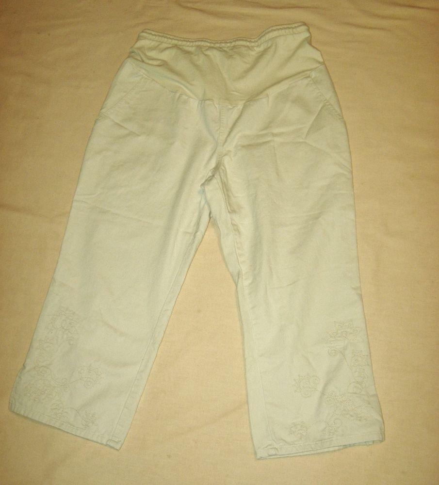 Baby & Me Tan Capris Medium 30 Waist Crop Pants Embroidered