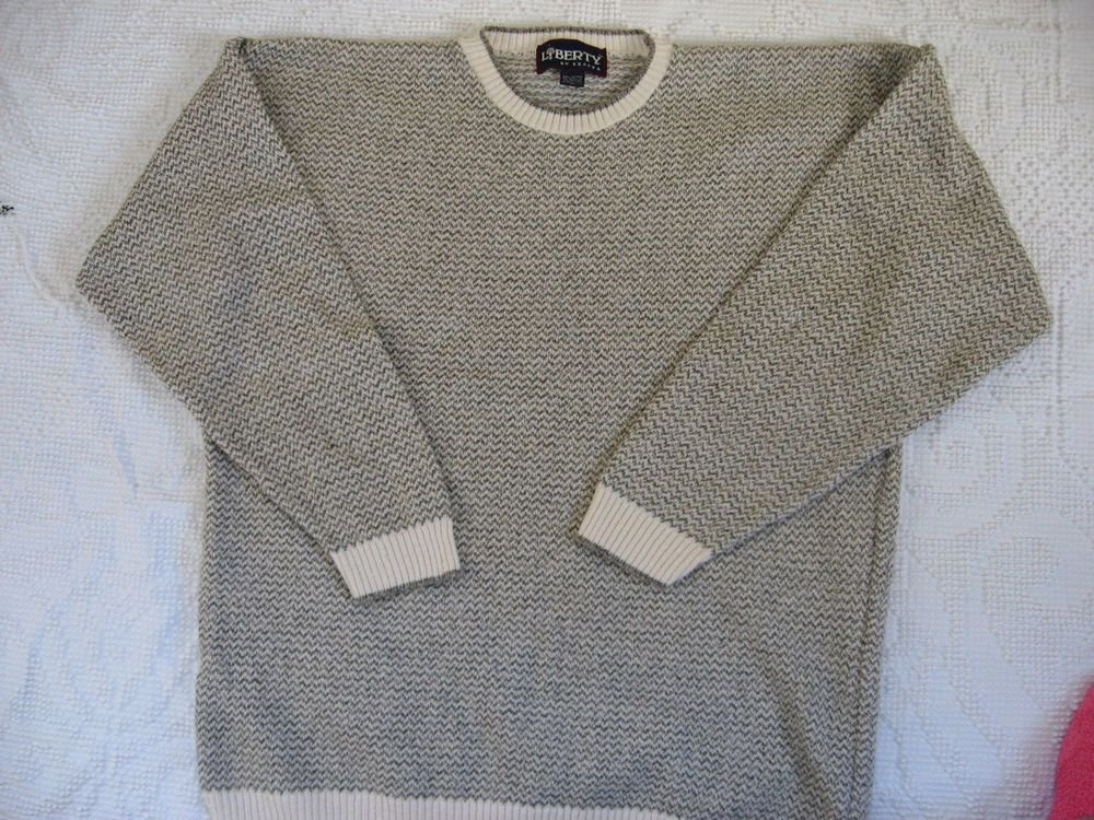 Liberty Exacta Sweater XL 49 Chest Tan Gray Crew Neck Cotton Blend Stripe