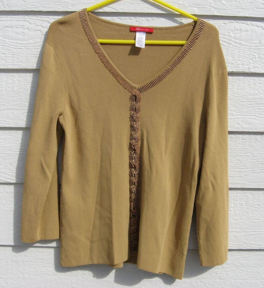 Anne Klein Gold Knit Top L Large 36 Chest Vneck