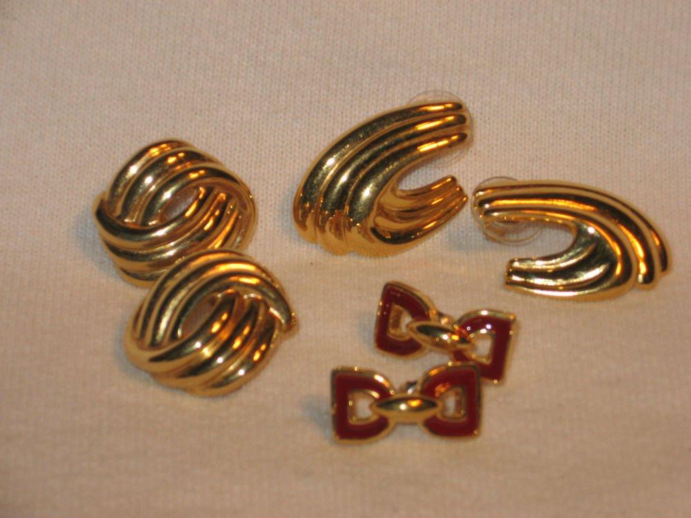 3 Pairs Napier Pierced Earrings Gold Tone Vintage