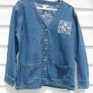 HAIKS L Large Blue Jean Blazer Jacket Long Sleeve 44 Inch Chest