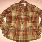 Brown Plaid Silky Blouse XL 16/18 White Stag Checkered