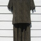 Fraizer Lawrence S 2 Piece Top Long Skirt Black Print Small
