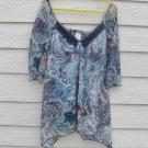 No Boundaries BoHo Top 15 35 Chest Blues Peasant Handkerchief Sheer Lining