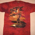 Native American Eagle T-shirt L Large Sunset The MountainRed Tie Dye EUC