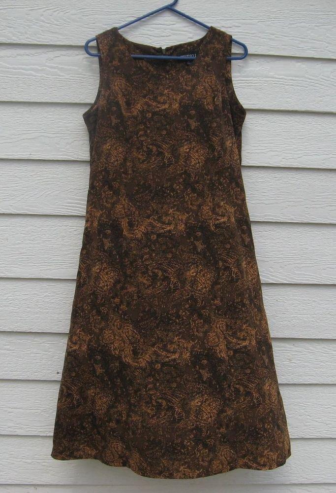 Studio I Dress 10 Brown Tan Black Sleeveless A Style