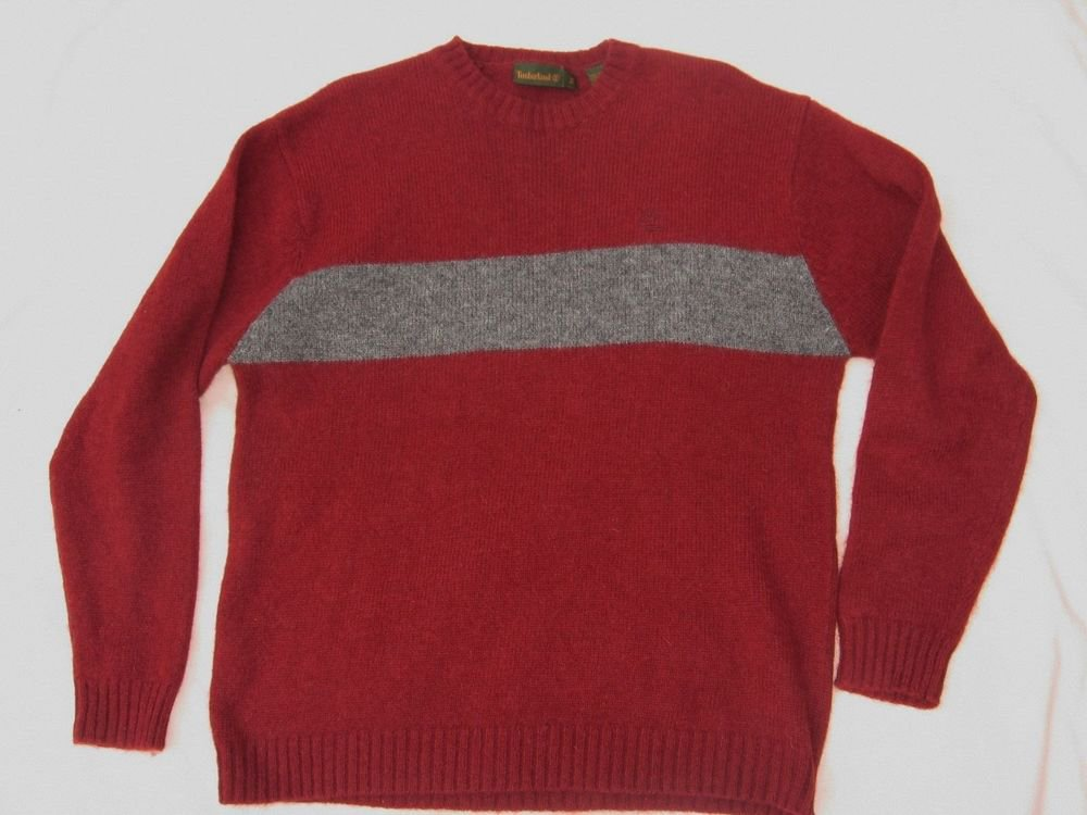 Timberland Red Gray Sweater M Medium 44 Chest Wool Pull Over Top