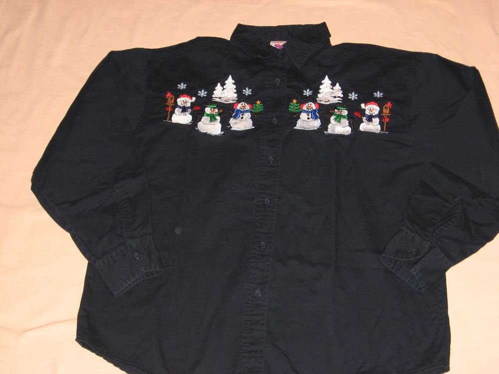 Snowman Navy Blue Shirt Top L Large Twill Embroidered Winter