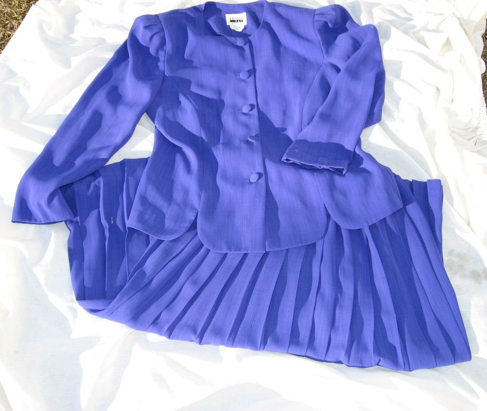 2 piece Dress Skirt 10 Leslie Fay Periwinkle Pleated Size Purple Blue