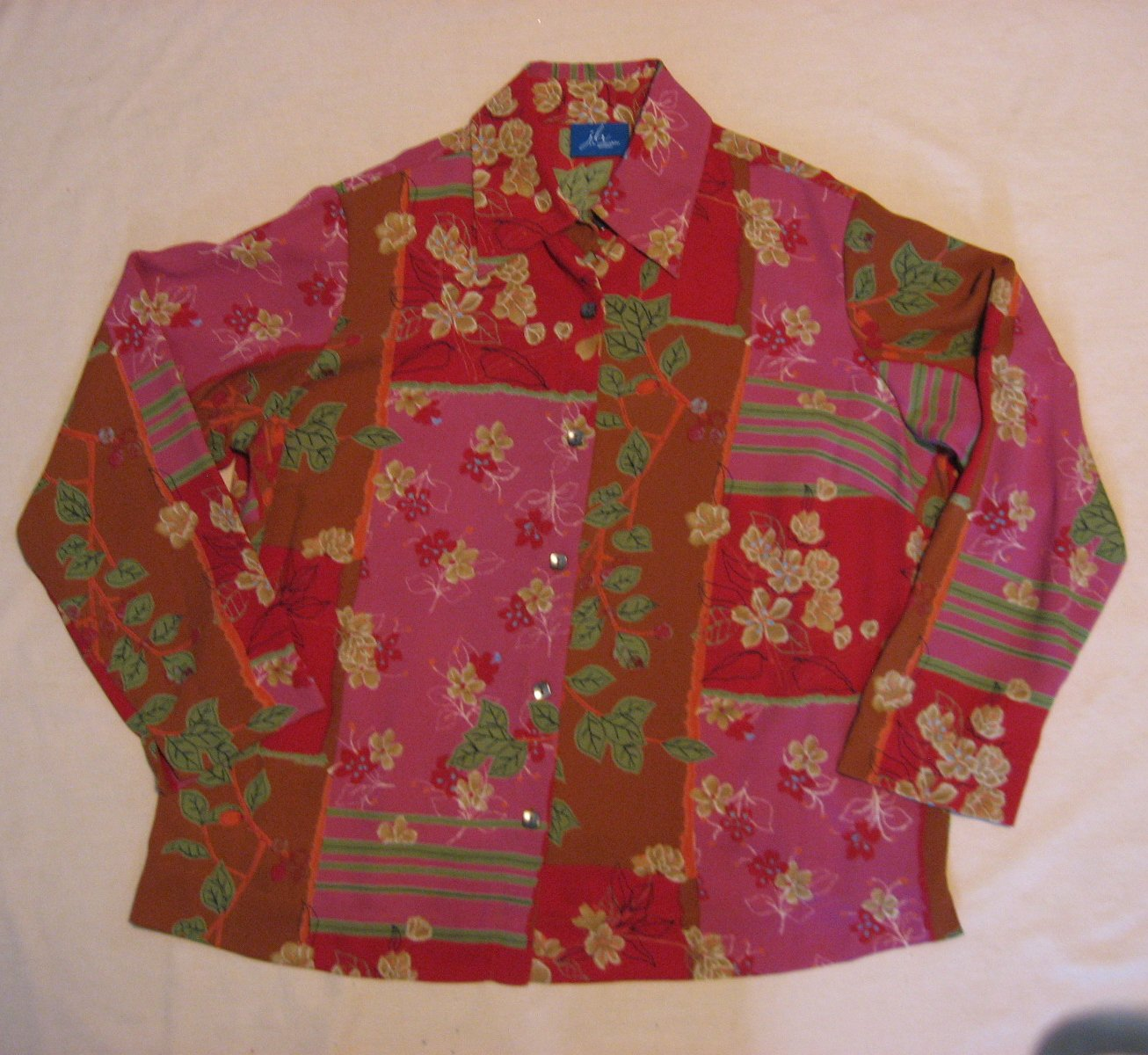 JH Collectibles Blouse 50 Chest Floral Plus Size 1 Pink Red Nice Movement Fabric