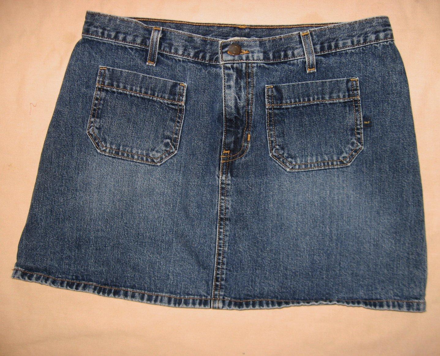 Abercrombie Fitch Jean Skirt 10 32 Waist EUC Mini Blue Denim