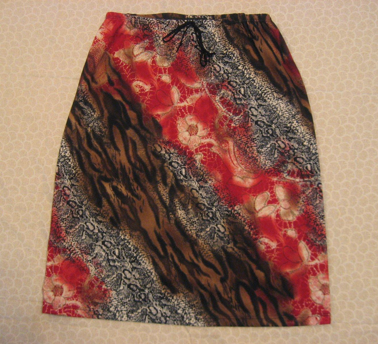 My Michelle Skirt L Large jr Animal Floral 28 Waist Diagonal Print