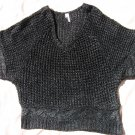 Studio Y Black Silver Sweater XL Loose Knit Short Sleeve Dressy