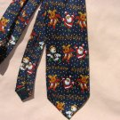 Happy Holiday Blue Tie Christmast Navy Blue Neck Tie
