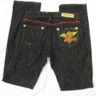 Ecko Red Black Jeans 31 Waist Red Piping Rhino Brand EUC
