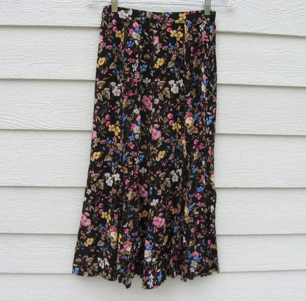 Liz Claiborne Skirt 26 Waist Black Floral Ankle Length