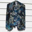 Chico's Easywear Shrug Coat Large Blue Knit Travel Knit
