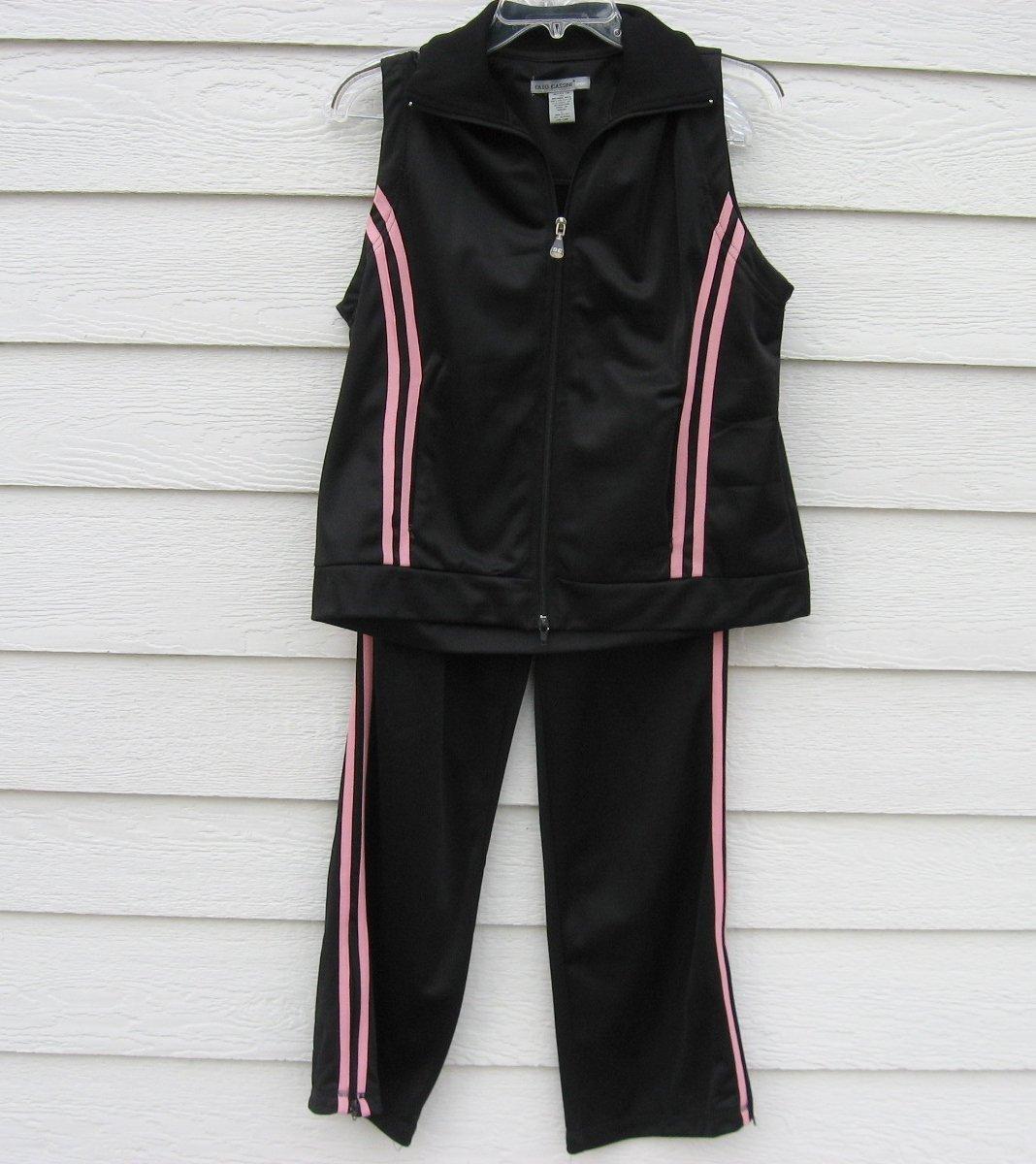 Oleg Cassini 2 Pc Black Work Out Suit Vest Large Pants small