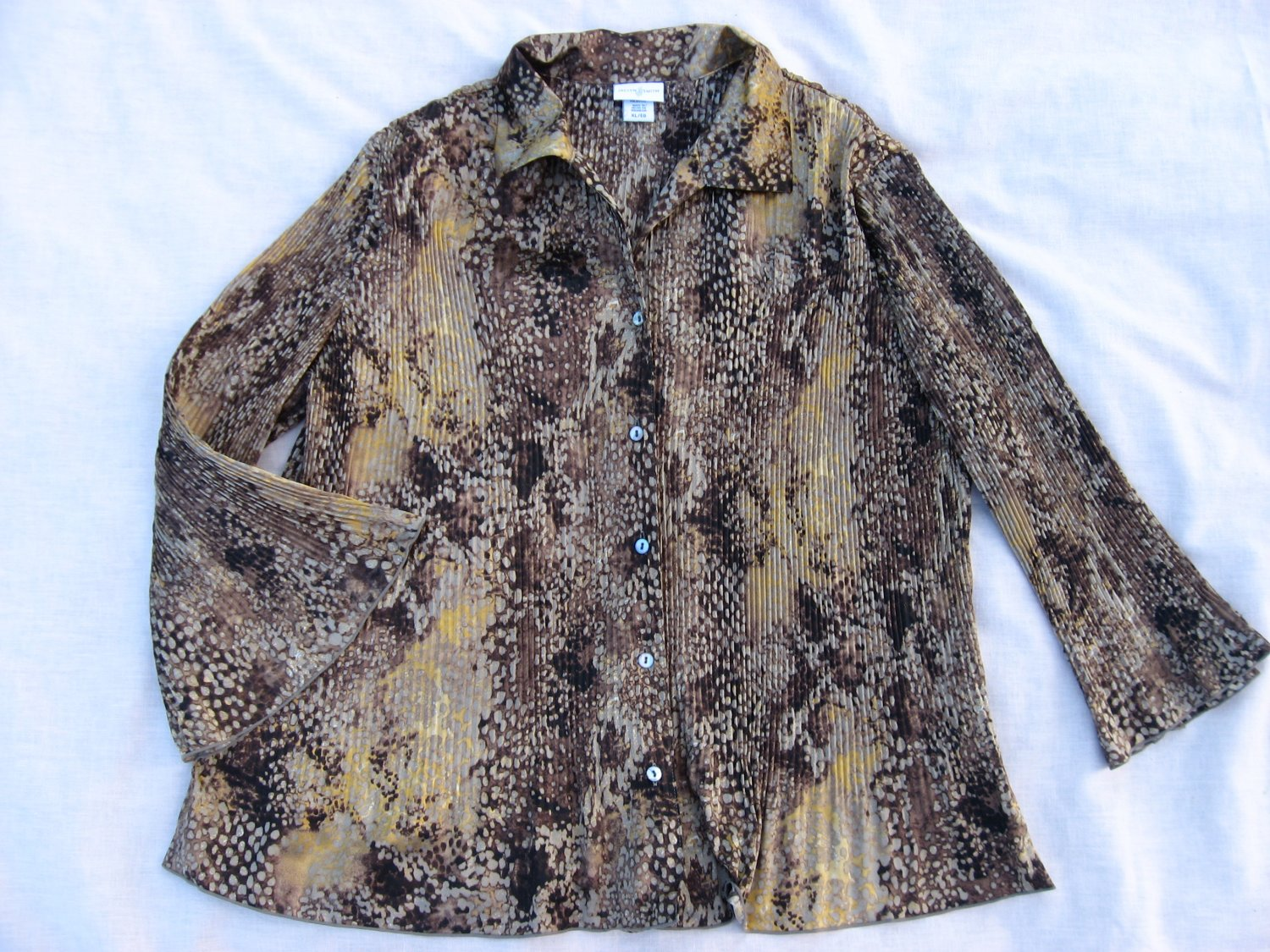 Jaclyn Smith Brown Pleated Blouse XL 50 Chest Abstract Pattern Top