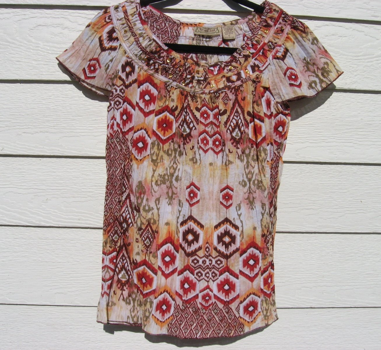 Art & Soul Top Jr Small S 34 Chest Native Inspired Shirt CLEARANCE
