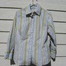 Merona Striped Blouse 18W 46 Chest Texture White Stripe Tailored Shirt