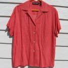 America Perry Ellis Blouse Small 42 Chest Red White Gingham Check Shirt