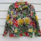 Chico's Colorful Jacket 3 Tropical Print Blazer 44 Chest Button Down Cotton