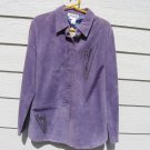 Lavender Art Wear Leather Shirt Jacket Small 40 Chest Purple Expressions Leslie