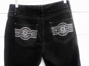 Bandolinoblu Jeans 8 31x32 Embellished Black Denim Slim Fit EUC