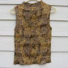 Carina Gold Brown Tank Top Large Shimmer Pattern Crinkle Pleated EUC
