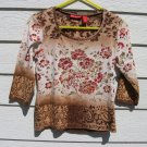 Gloria Vanderbilt Floral Top Medium 34 Chest Jr Beaded Brown CLEARANCE