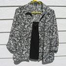 Notations Top Blouse Large 42 Chest Black White Blazer Faux Front
