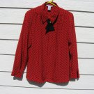 Ship N Shore Blouse 10 42 Chest Red Polka Dot Career Dressy Top Button Down