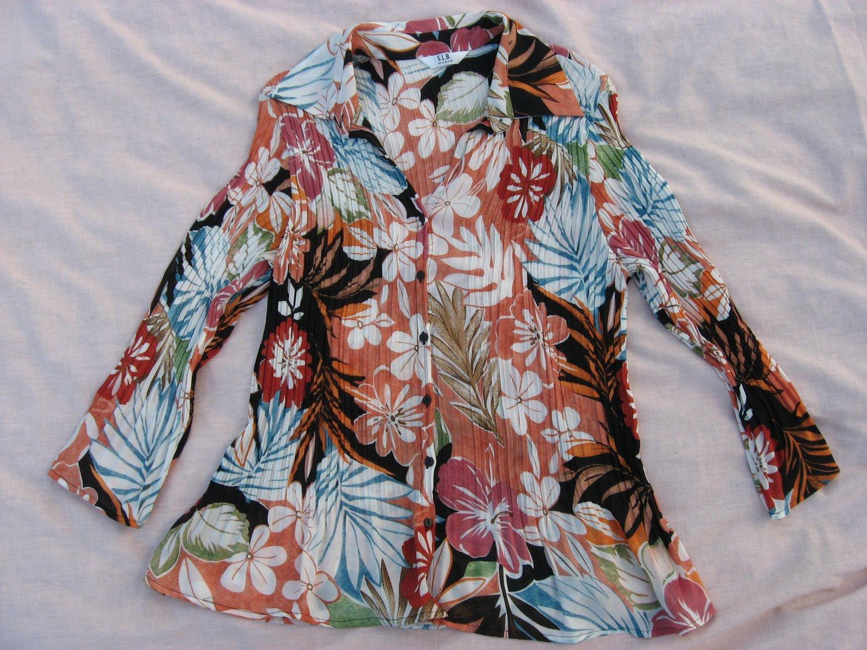 S.L.B. Blouse Medium 38 Chest Floral Pleated Peasant BoHo Button Down Shirt Top
