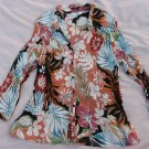 S.L.B. Blouse Medium 38 Chest Floral Pleated Peasant BoHo Button Down Shirt Top