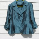 Polka Dot Pleated Top 38 Chest Dark Teal Shiny Peplum Balloon Sleeves
