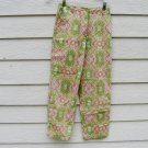 Talbots Pants 2 27 Waist Lime Green Print Paisly Medallion Tapered Legs