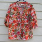 Rebecca Malone Floral Blouse Large L 44 Chest Bright Flowers Button Down Top