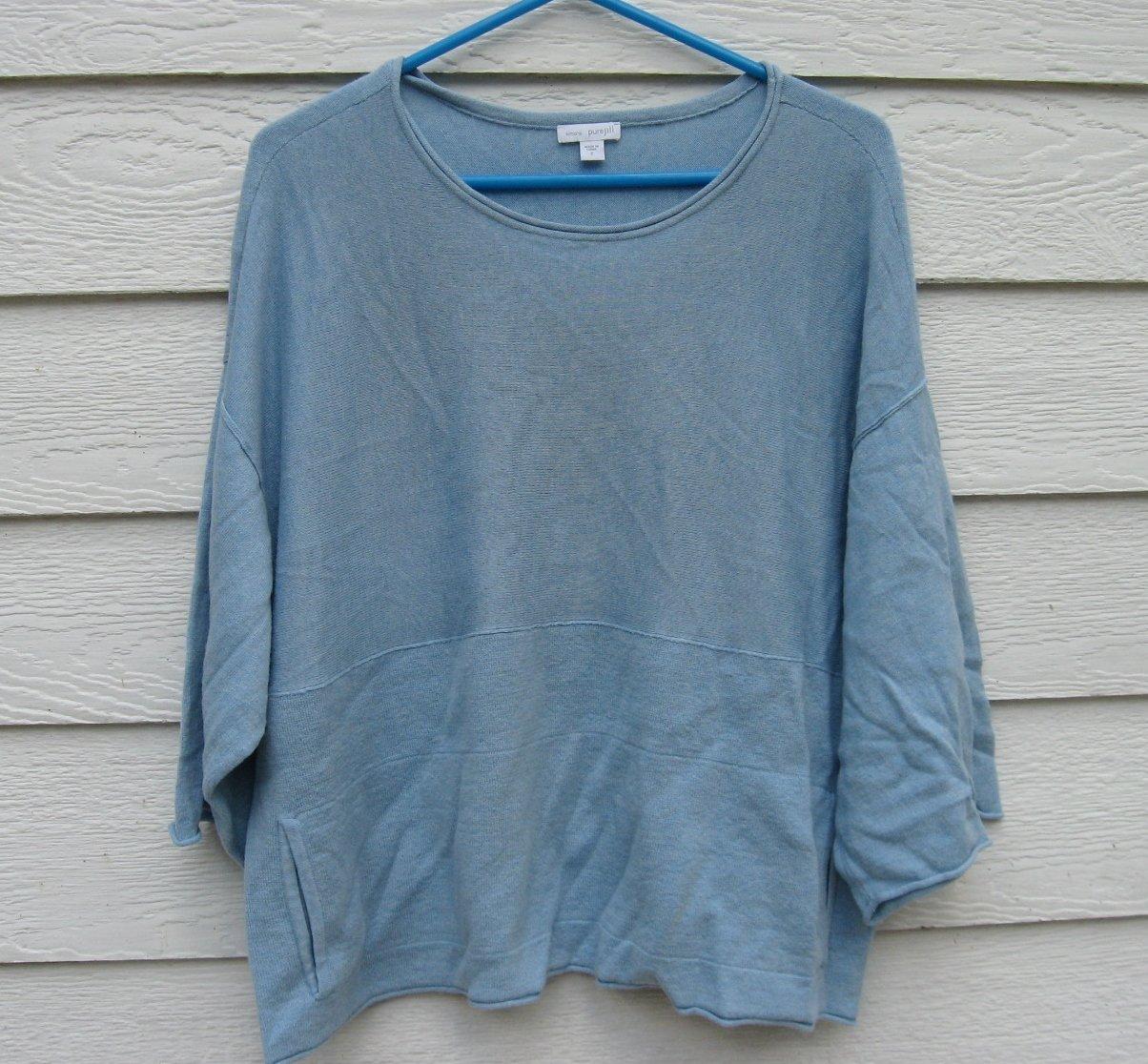 Pure Jill Kimono Sweater Top Small S 48 Chest Cotton Cashmere Blend Light Blue
