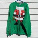 Santa Sweat Shirt2XL 54 Chest  Green Santa Claus Body Naughty Beer Gift NWOT