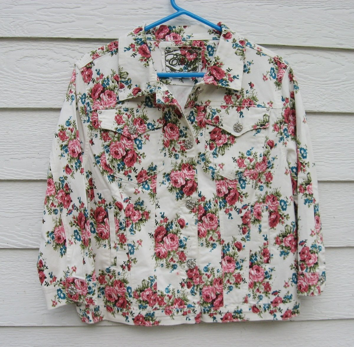 Ethyl Floral Jacket Large L 40 Chest White Pink Flowers Unlined