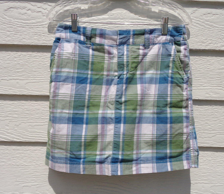 Sonoma Blue Green Plaid Skorts 4 31 Waist Skirt Shorts