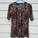 Susan Graver Brown Print Top XS 35 Chest Knit