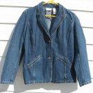 Lizwear Jean Denim Blue Jean Blazer L Large 42 Chest Liz Claiborne