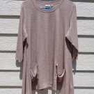LOGO Lori Goldstein Micro Stripe Tunic Tops 1X 45 Chest Brown 3/4