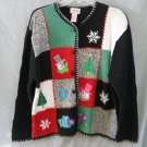 Crystal Kobe Christmas Cardigan Large 44 Chest Ugly Sweater Block pattern