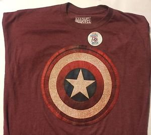 Captain America T-Shirt Mad Engine Marvel Size L Red Puffy Shield Brand New