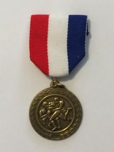 Football Bronze Medal 89 With American Flag Clip Red White Blue