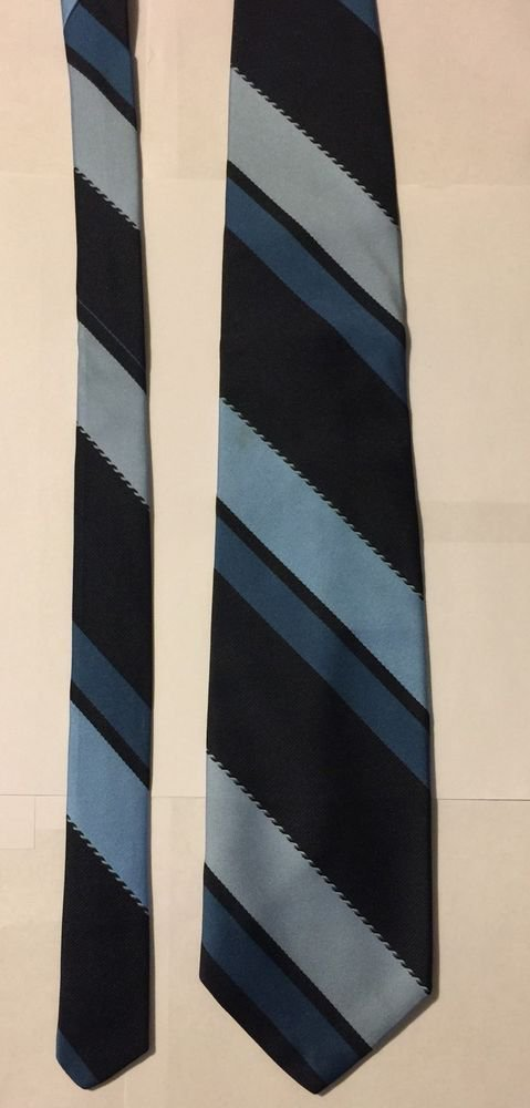 Brittania Blue and Black Striped Necktie WPL 2555 Polyester Tie