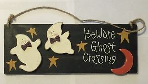 Beware Ghost Crossing Wood Wall Hanging Plaque Sign